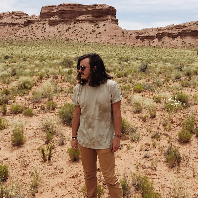 Jordan sporting the High Desert Tee on his roadtrip across the desert
